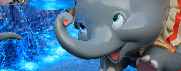 New Dumbo ride dazzles in Storybook Circus with water fountains and multi-colored lights at Walt Disney World