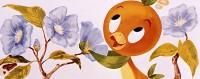 orange bird smelling flowers