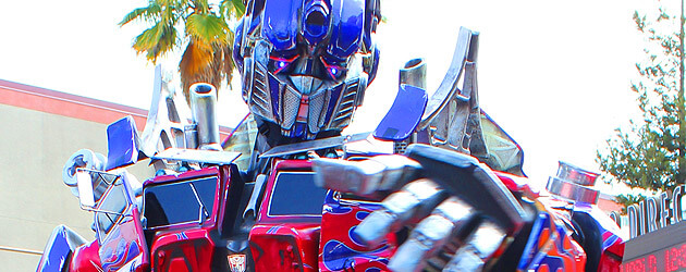 Optimus Prime and Bumblebee roll out for Transformers: The Ride 3D grand opening at Universal Studios Hollywood