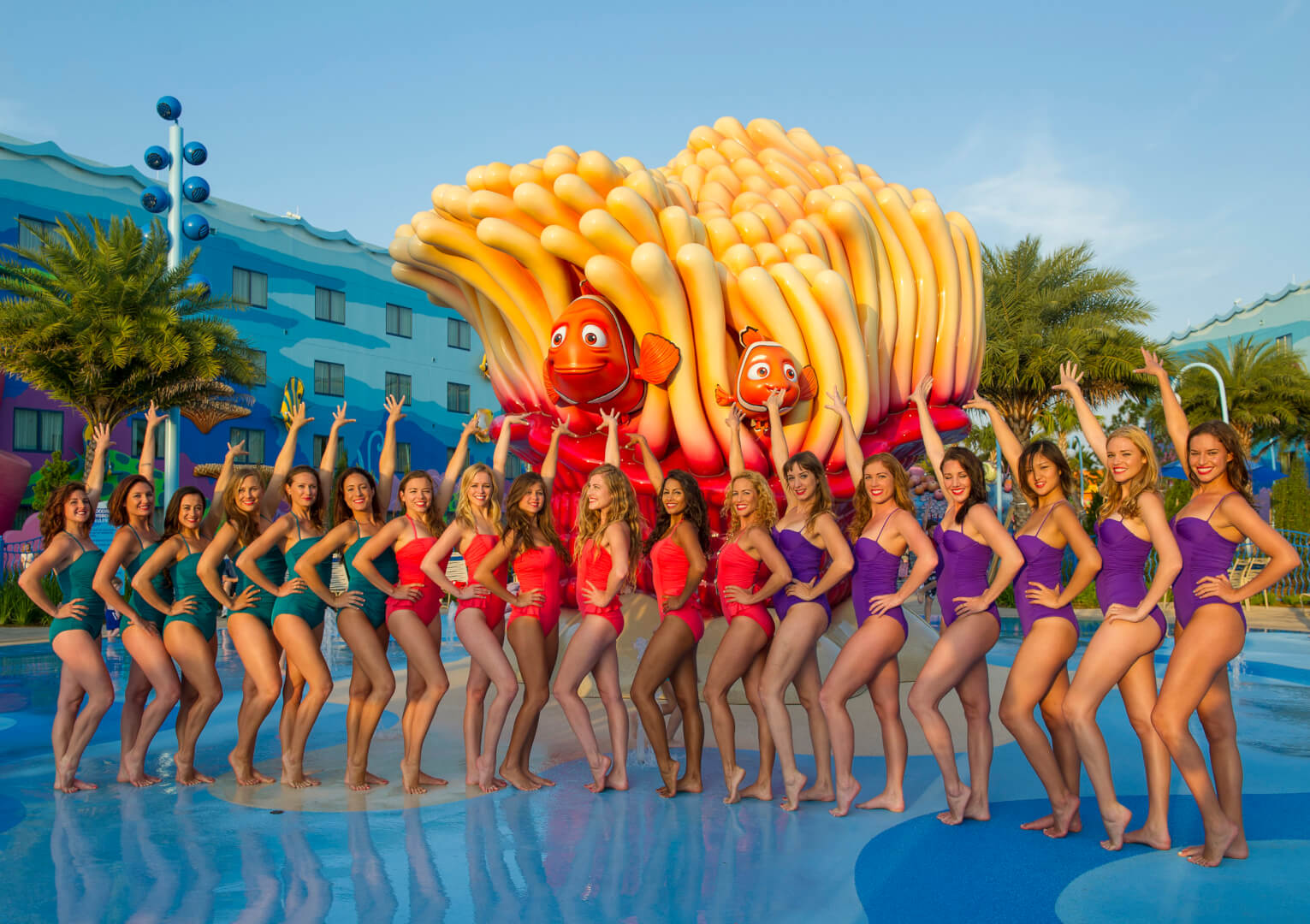 Photo Aqualillies Water Ballet Performs In Big Blue Pool At Disney S Art Of Animation Resort In