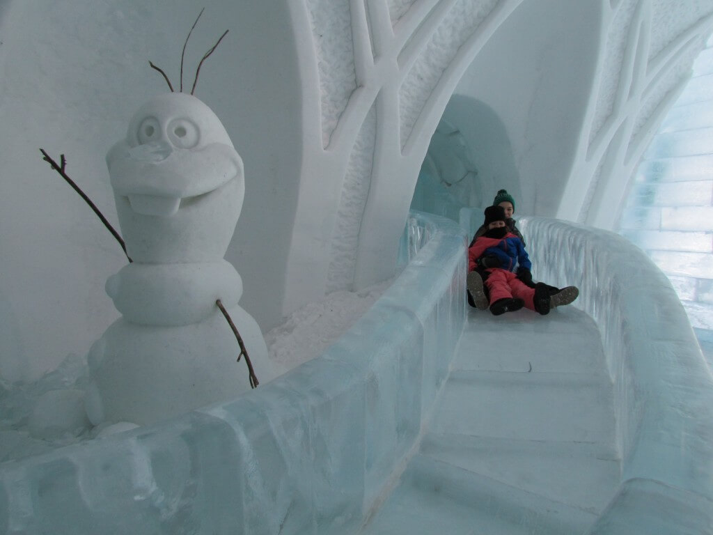 photos inside the frozen ice hotel suite at h tel de glace in canada with slippery slide past. Black Bedroom Furniture Sets. Home Design Ideas