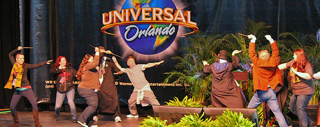 Harry Potter wand combat demo turns into epic on-stage duel as choreographer, film star engage Universal Orlando guests