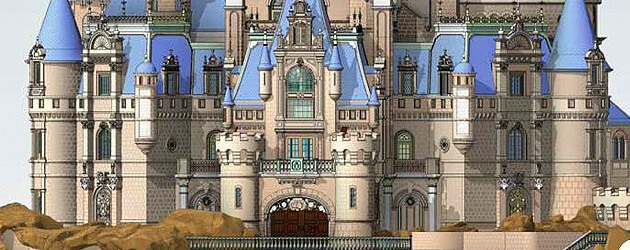 closer look at enchanted storybook castle with ride, restaurant