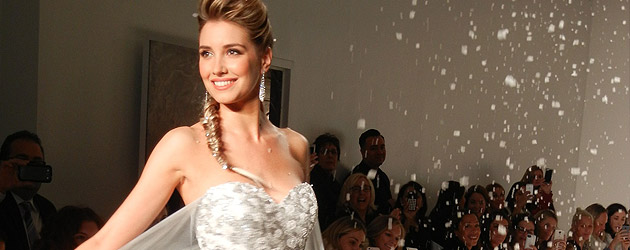 """""""Frozen"""" inspired wedding dress by Alfred Angelo revealed in New York fashion show from Disney Fairytale Weddings"""