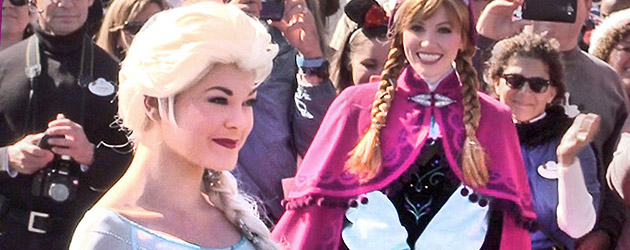 Elsa ices over Walt Disney World in Frozen Christmas Celebration parade taping with Anna, Olaf, Kristoff