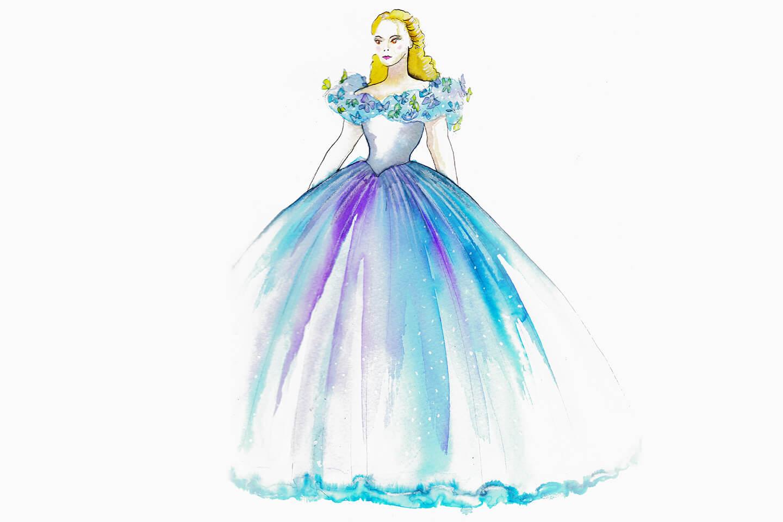 Closer look at disney s cinderella wedding dress inside the magic