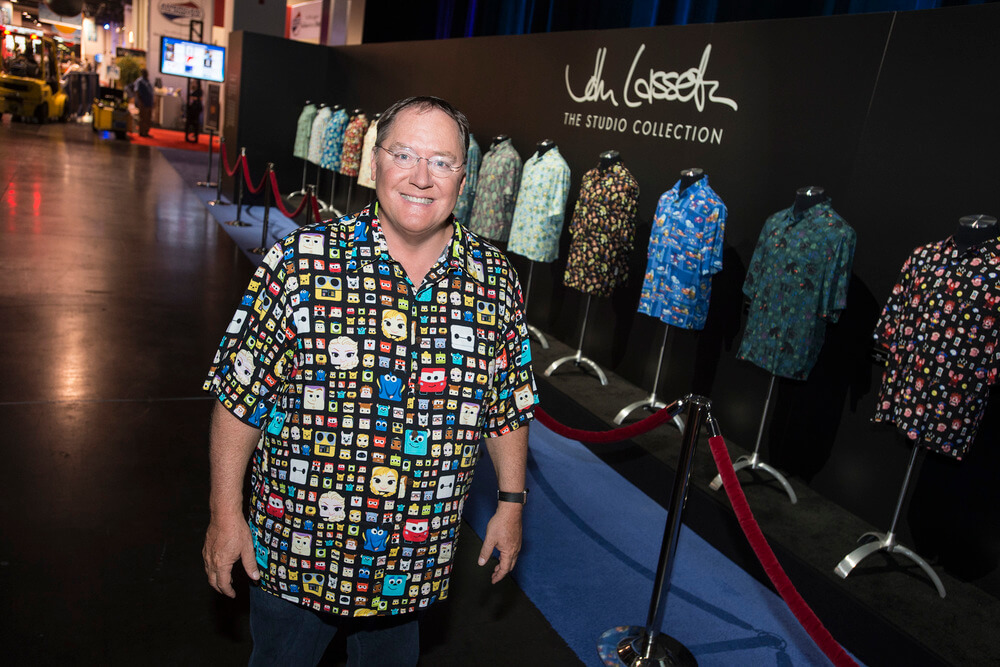 D23 expo 2015 john lasseter hawaiian shirts on display for John lasseter disney shirts