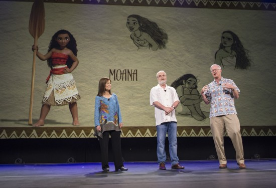 """Moana"" producer Osnat Shurer with directors Ron Clements and John Musker at D23 Expo 2015. Image Copyright Disney."
