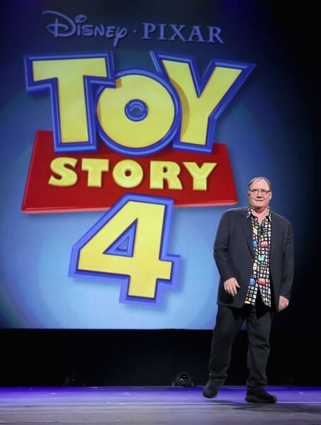 """ANAHEIM, CA - AUGUST 14:  Director John Lasseter of TOY STORY 4 took part today in """"Pixar and Walt Disney Animation Studios: The Upcoming Films"""" presentation at Disney's D23 EXPO 2015 in Anaheim, Calif.  (Photo by Jesse Grant/Getty Images for Disney) *** Local Caption *** John Lasseter"""