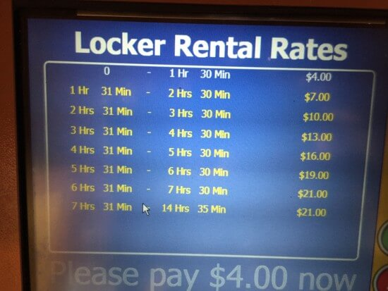 Water Ride Locker Rental Rates