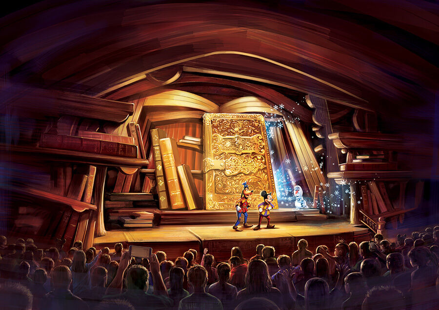 An all new stage show mickey and the wondrous book for Stage 47 designhotel