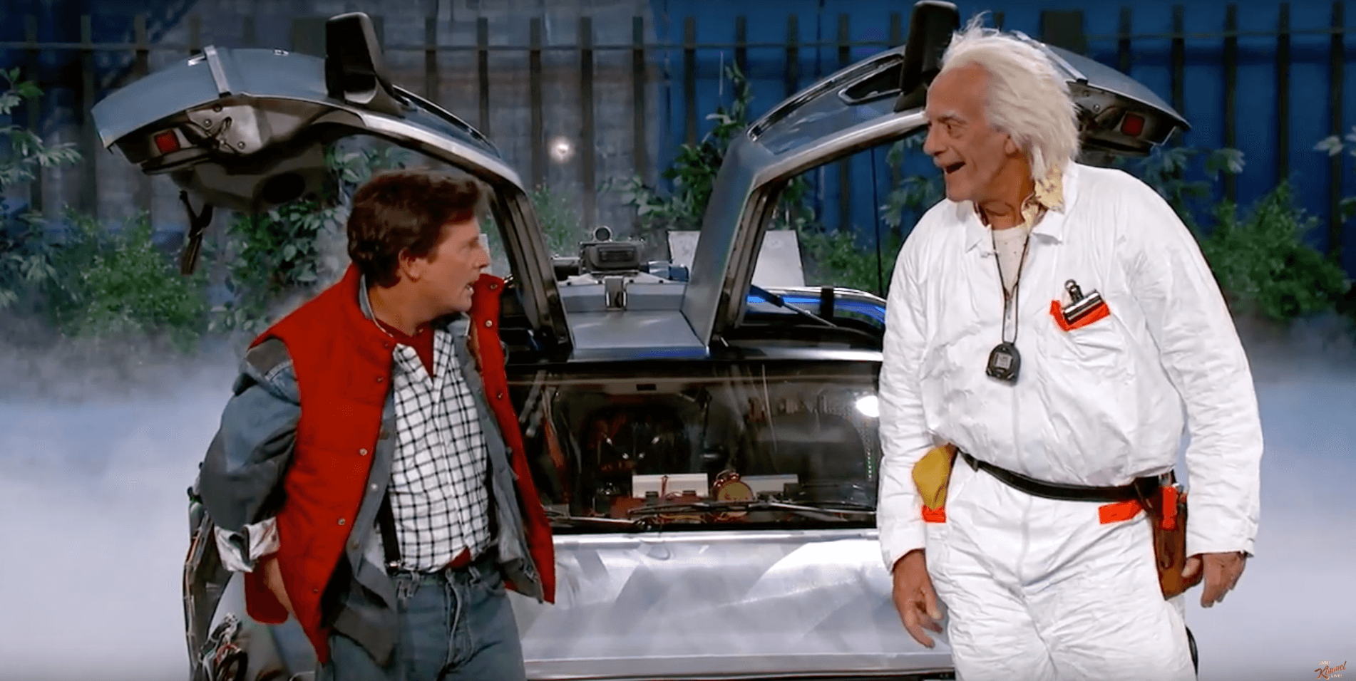 Video Marty Mcfly And Doc Brown Reunite On Jimmy Kimmel Live For Back To The Future Day