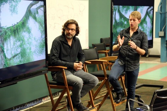 Production Designer Matthias Lechner and Environment Look Supervisor Lance Summers present at the Zootopia Long Lead Press Days on October 26, 2015 at the Walt Disney Studios Tujunga Campus. (Photo by Alex Kang. ©2015 Disney. All Rights Reserved.)