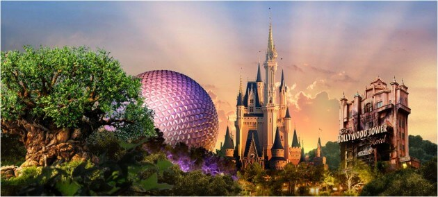 Walt Disney World icons: Tree of Life, Epcot Ball, Cinderella's Castle & Tower of Terror