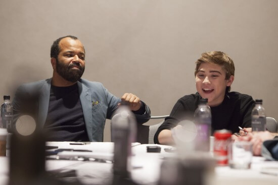 Jeffrey Wright and Raymond Ochoa attend the The Good Dinosaur Press Day in Los Angeles on November 15, 2015. Photo by Patrick Wymore. ©2015 Disney•Pixar. All Rights Reserved.