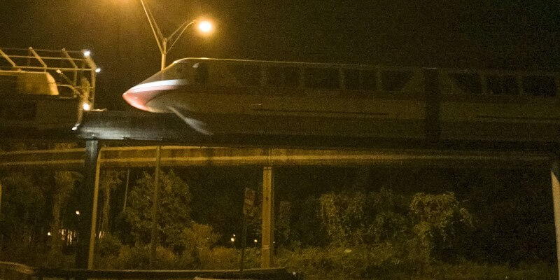 Damaged Monorail Coral Towed To Offstage Work Barn After Collision With Tow Tractor At Walt Disney World