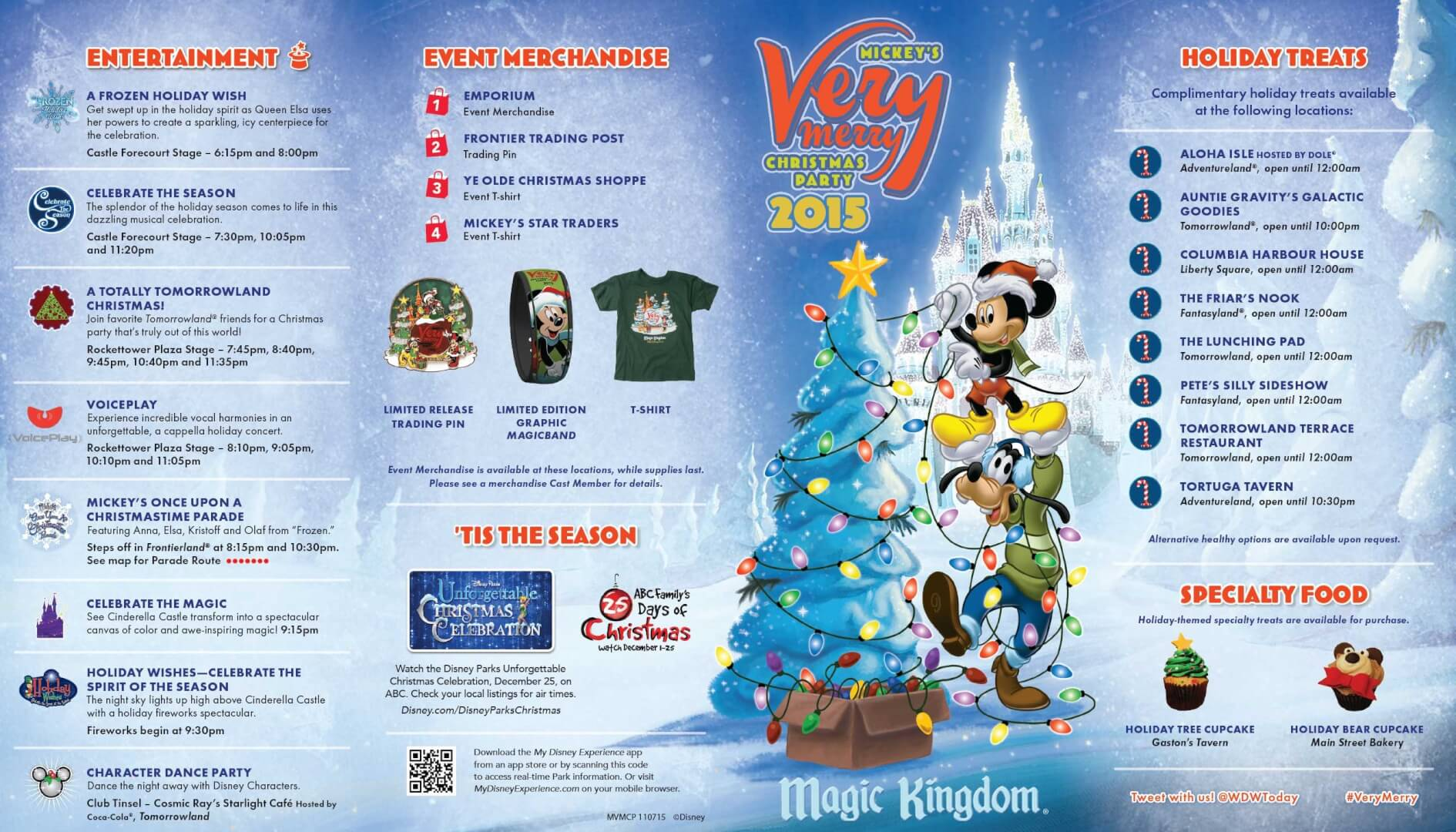PHOTOS: Mickey's Very Merry Christmas Party 2015 guide map for ...