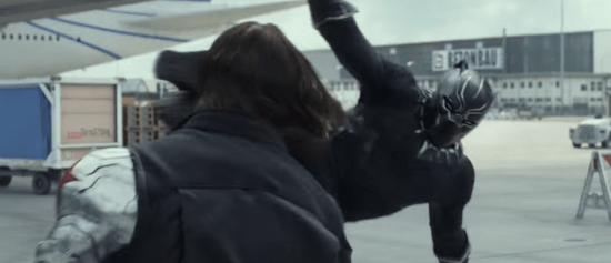 Black Panther Drop Kick Captain America Civil War