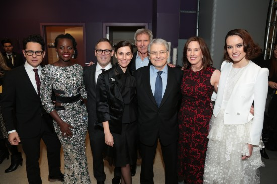 J.J. Abrams, Lupita Nyong'o, Bryan Burk, Michelle Rejwan, Harrison Ford, Lawrence Kasdan, Kathleen Kennedy, Daisy Ridley