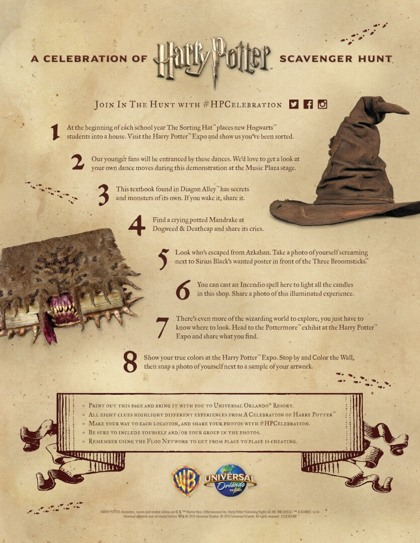Scavenger Hunt Clues for 2016 Celebration of Harry Potter™ at