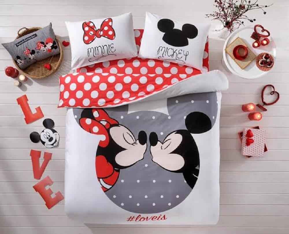 Disney Mickey Amp Minnie Love Queen Bed Cover Set Inside