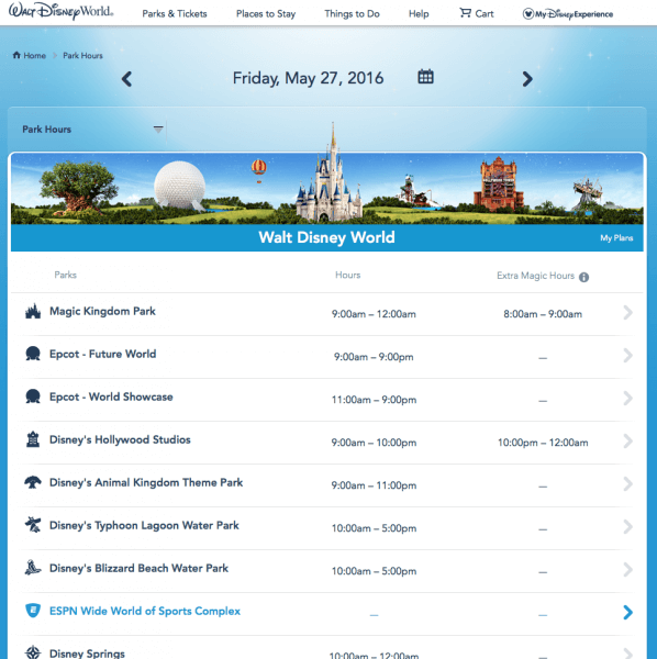 WDW Park hours