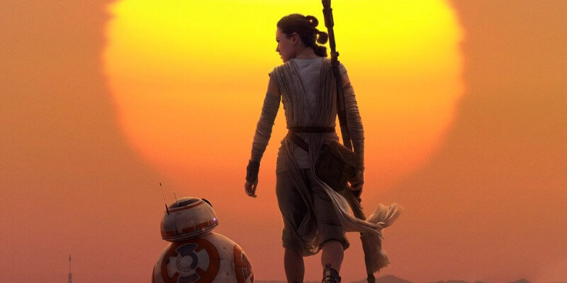 Rey and BB-8 in Star Wars: The Force Awakens