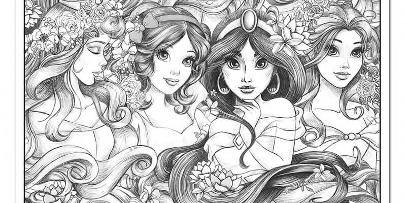 Disney Princesses coloring poster | Inside the Magic