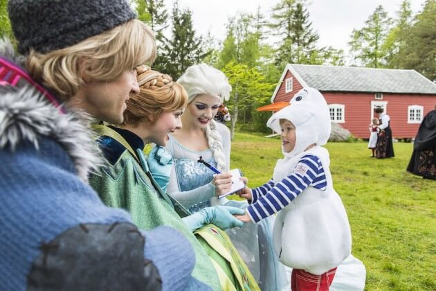 In a Port Adventure like only Disney can do, Anna and Elsa join a traditional Norwegian summer celebration for their first appearance in the land that inspired their story. As part of the Disney Cruise Line Northern European summer season, the Disney Magic sails to Ålesund, Norway. (Matt Stroshane, photographer)