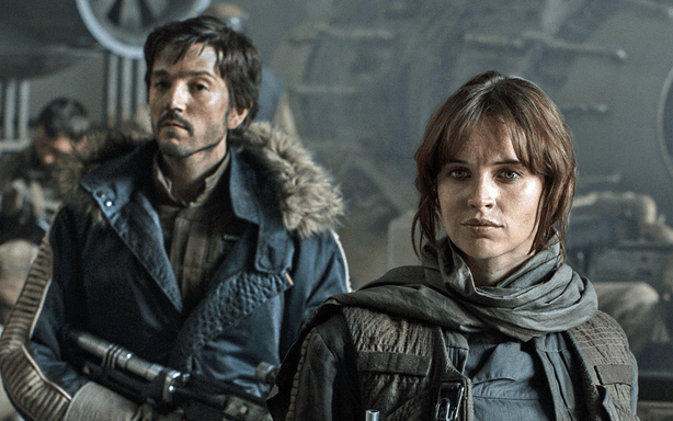 cassian andor (left) and jyn erso (right) in rogue one