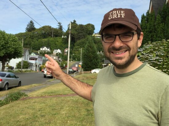 "I'm pointing at the famous Walsh home from ""The Goonies."""