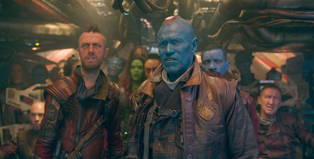 Marvel's Guardians Of The Galaxy L to R: Ravager Crew Member (Sean Gunn) & Yondu (Michael Rooker) Ph: Film Frame ©Marvel 2014