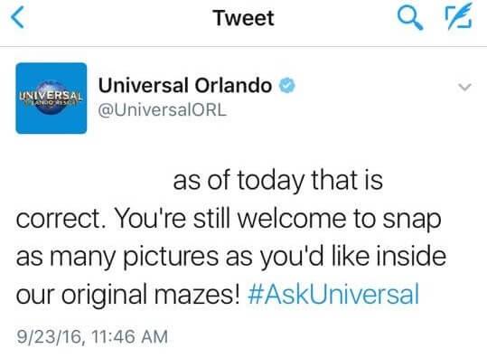 Universal Orlando tweet