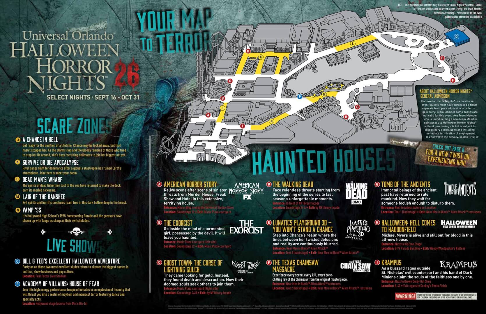 hhn map - Halloween Horror Nights In Orlando Florida