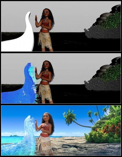 MOANA effects progression image, featuring Animation (top), Simulation (middle), and Render (bottom) passes.