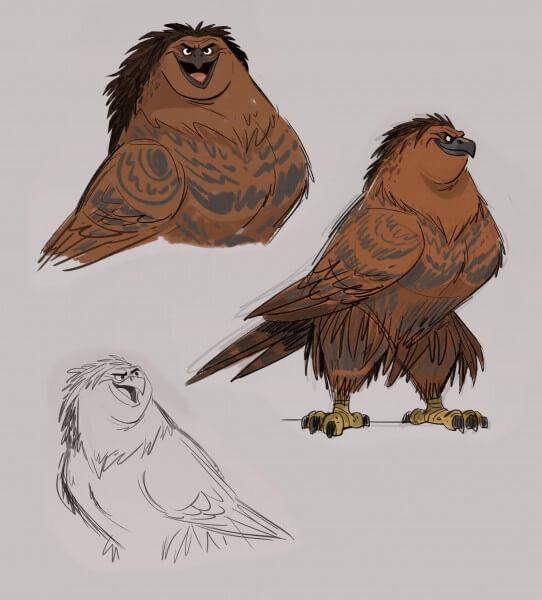 MAUI Hawk visual development. Artist: Bill Schwab, MOANA Art Director, Characters