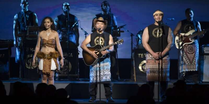 "Opetaia Foa'i (center) performs a song from ""Moana"" at D23 Expo 2015."
