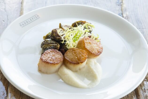 Scallops with Brussel Sprouts and Cauliflower