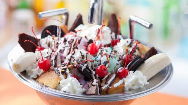"Only available at Beaches and Cream in the Disney's Beach Club resort, The kitchen sink is not only the biggest ice cream sundae you've ever had in your life, but it's actually served in a kitchen sink. No, really. This thing would keep a family of four fed for a couple of days -- if they were awesome enough to only eat dessert when they should be balancing proteins and vegetables. Cherries, brownies, Oreo cookies, oranges, cake, and anything else you could imagine being topped onto a giant bowl of ice cream make this dessert a ""can't miss"" at the Walt Disney World resort. But if you think you have the capacity to handle one all on your own, I would recommend heading over to the Haunted Mansion so they can prepare your tombstone. It's a doozy!"