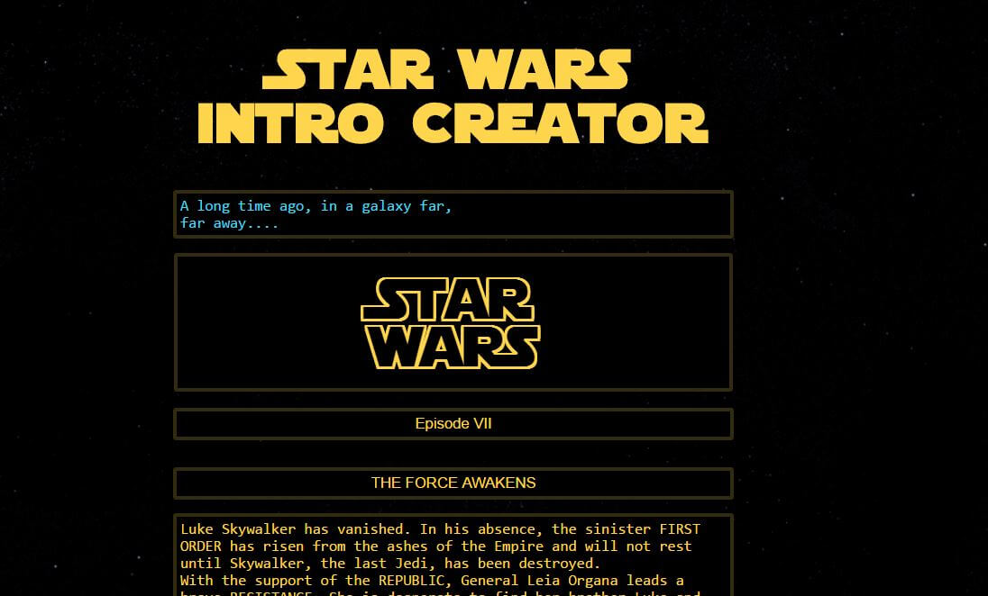 Create Your Own Customized Star Wars Intro Crawl Online With This Handy Tool Inside The Magic
