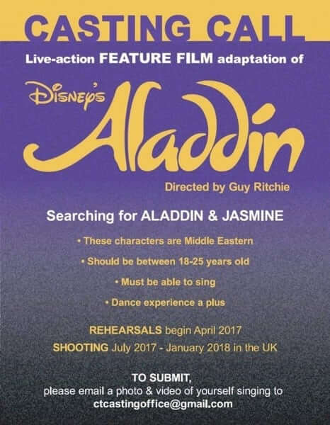 """Casting Call for Live-Action """"Aladdin"""" Film Leading Roles"""