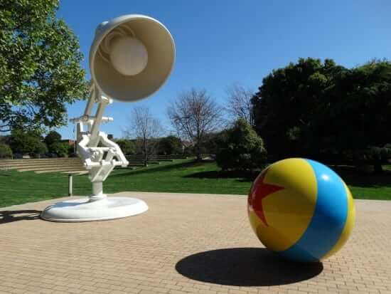 """The famous lamp and ball from Pixar's """"Luxo Jr."""", the CGI animated short that started it all."""