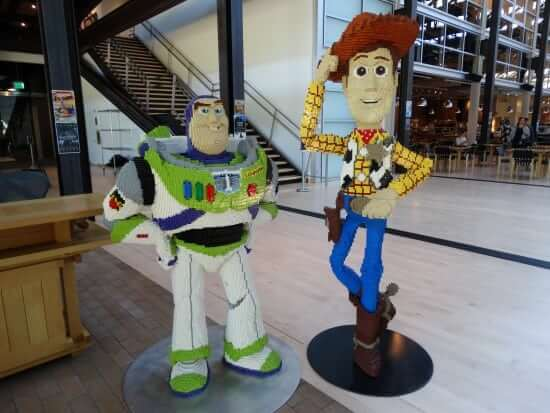"""Buzz Lightyear and Woody from """"Toy Story"""" in LEGO form."""