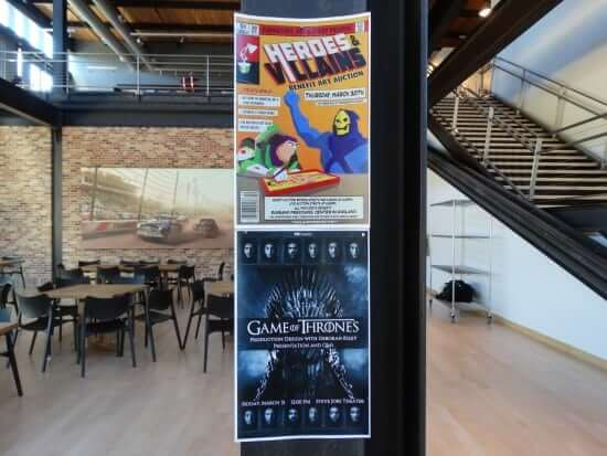 Flyers are plastered up around the Pixar lobby advertising upcoming events for employees.