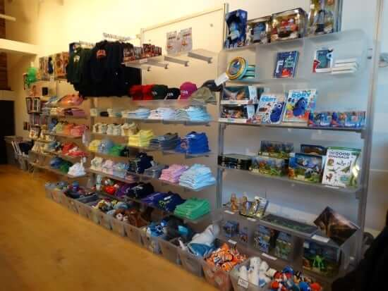 The inside of the Pixar Studio Store, where visitors and employees can pick up merchandise from just about all of Pixar's films and from the studio itself.