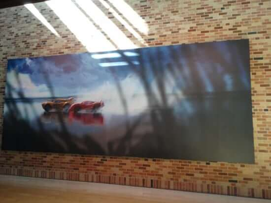 """More """"Cars 3"""" art in the lobby."""
