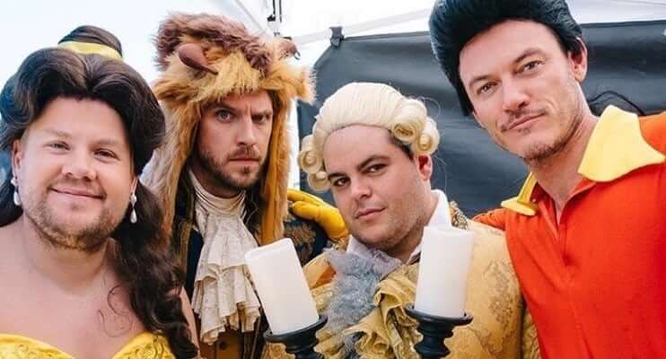 VIDEO Josh Gad Luke Evans Dan Stevens Hilariously Perform Low Budget Beauty And The Beast On Public Crosswalk For Late Show