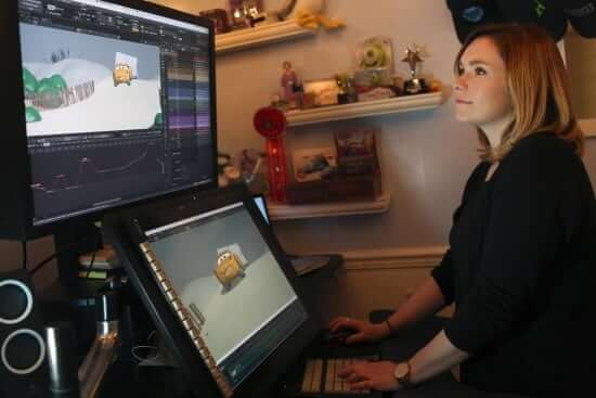 "Jude Brownbill works in her office on ""Cars 3"" and is photographed on December 12, 2016 at Pixar Animation Studios in Emeryville, Calif. (Photo by Deborah Coleman / Pixar)"