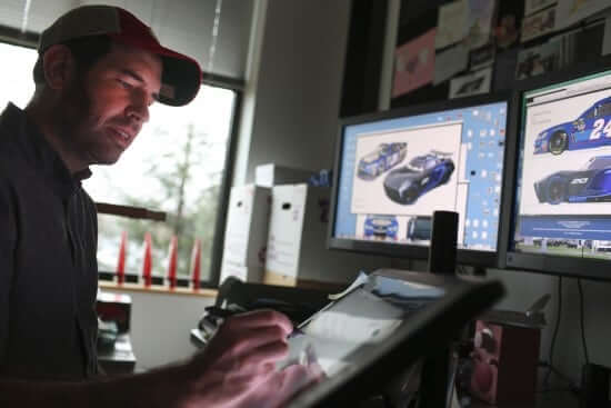 """Cars 3"" Production Designer Jay Shuster works on the character design of Jackson Storm, as seen in his office on December 15, 2016 at Pixar Animation Studios in Emeryville, Calif. (Photo by Deborah Coleman / Pixar)"