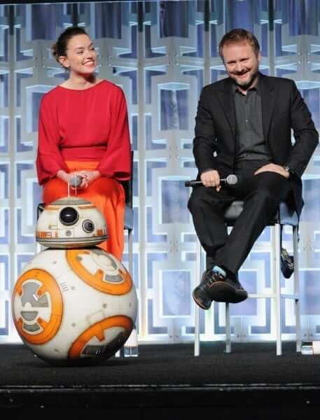 ORLANDO, FL - APRIL 14: BB-8, Daisy Ridley and Rian Johnson attend the STAR WARS: THE LAST JEDI PANEL during the 2017 STAR WARS CELEBRATION at Orange County Convention Center on April 14, 2017 in Orlando, Florida. (Photo by Gerardo Mora/Getty Images for Disney) *** Local Caption *** BB-8, Daisy Ridley;Rian Johnson